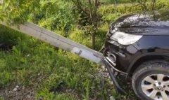 女司机错把油门当刹车撞电线杆 边撞边